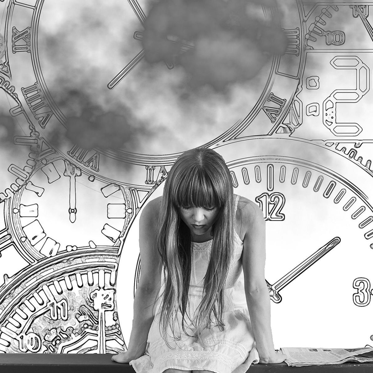 Woman depressed by time