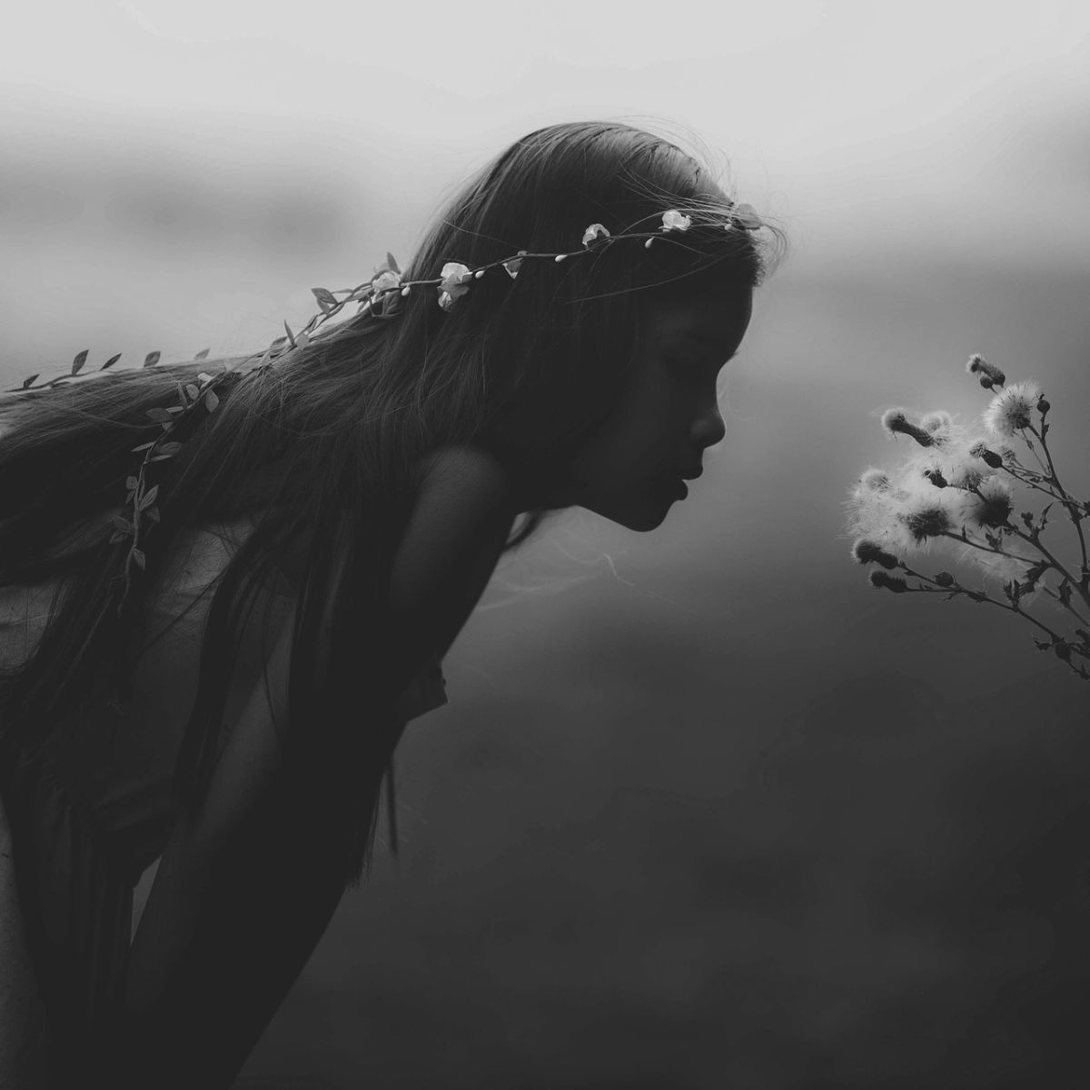 Young girl smells a flower, silhouette, black, white, mystic