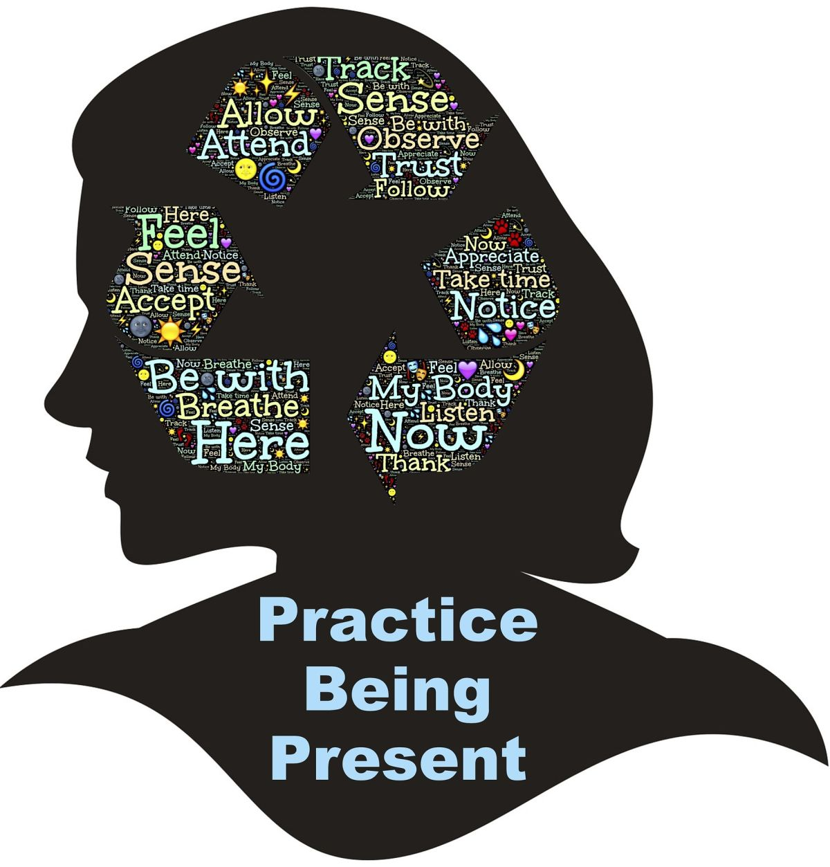 Woman silhouette : Practice being present