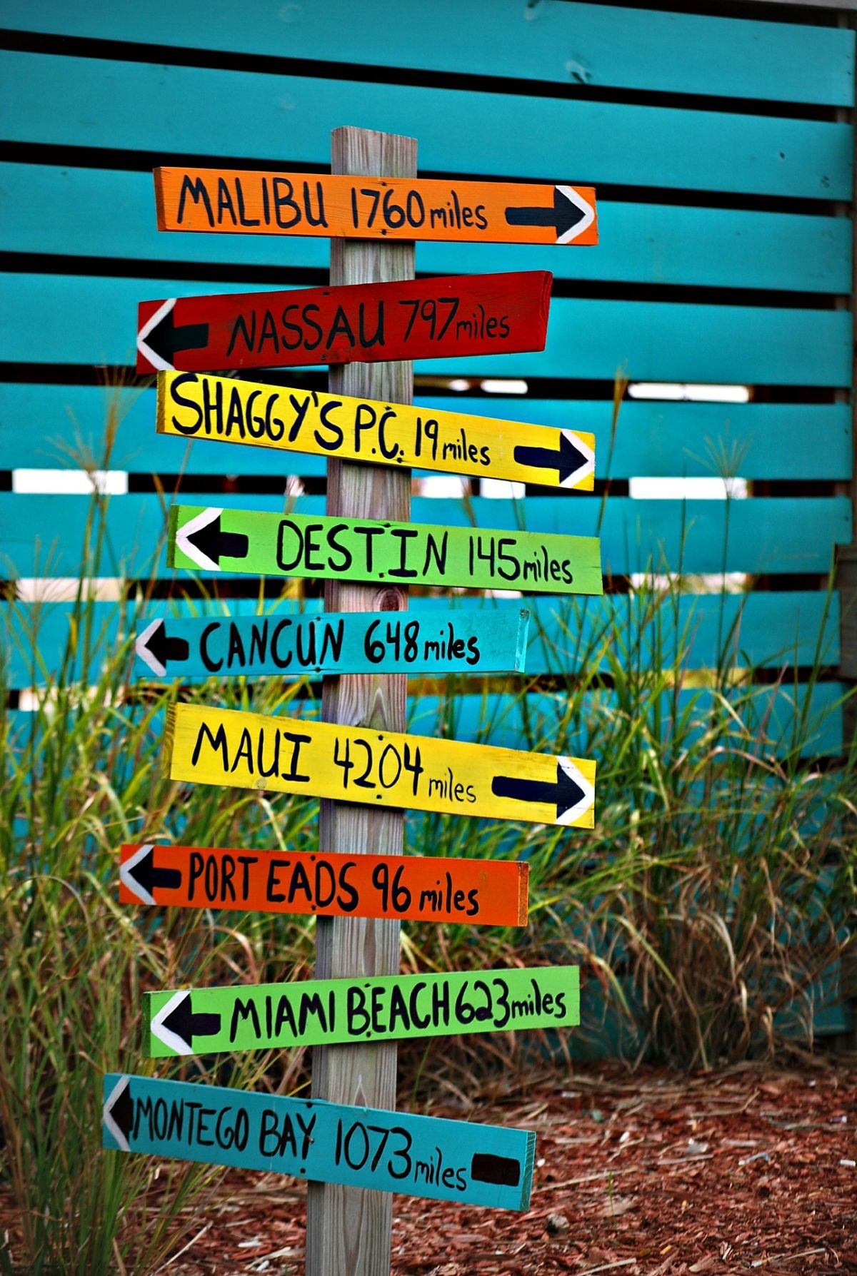 Signs, directions, navigation, colorful