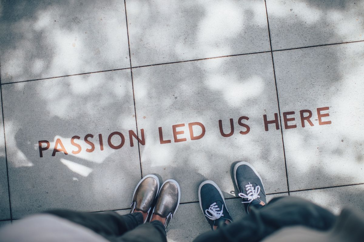 Passion led us here: Quote. Feet, floor