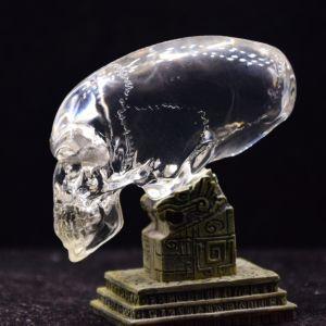 Transparent glass carved alien skull Image 1