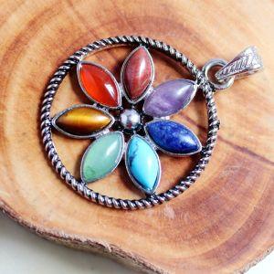 7 Chakra Healing Crystal Stone Pendant Image 1