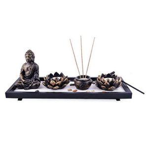Feng Shui Zen Garden Sand Buddha Rocks Lotus Incense Burner W Fengshuisale Red String Bracelet Sku:H1023 Image 1
