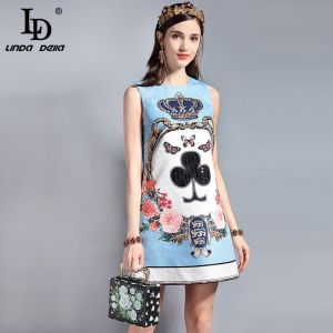 LD LINDA DELLA Fashion Designer Runway Summer Dress Women's Sleeveless Sequin Beading Jacquard Floral Print Vintage Casual Dress Image 1