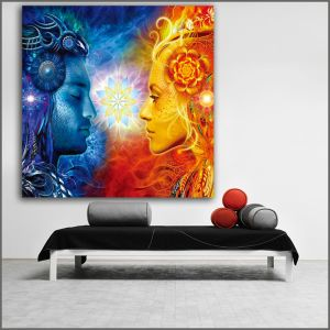 Large size Printing Oil painting Tantra Shiva and Shakti wall art canvas prints pictures for living room and bedroom No Frame Image 1