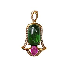 Lii Ji 18K Gold 10x16mm Rectangle Natural Green Tourmaline Pink Sapphire Diamond Pendant Image 1