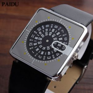 Unique Men Watch Square Dial Turntable Numeral Creative Fashion Quartz Wristwatch For Men Image 1