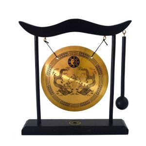 Zen Art Brass Feng Shui Desktop Gong Dragon Image 1