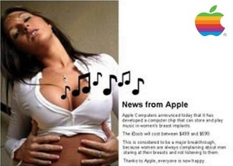 Apple iTit enables listening music with female breasts...