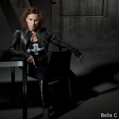 Bella C. with jacket and cross t-shirt