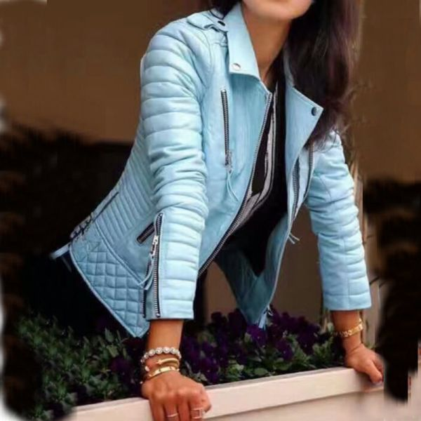 Women Fashion Soft Faux Leather Jackets -Motorcyle Zippers Biker Blue Coat Image 1