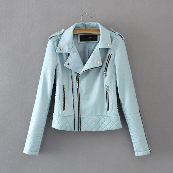 Women Fashion Soft Faux Leather Jackets -Motorcyle Zippers Biker Blue Coat Image 2
