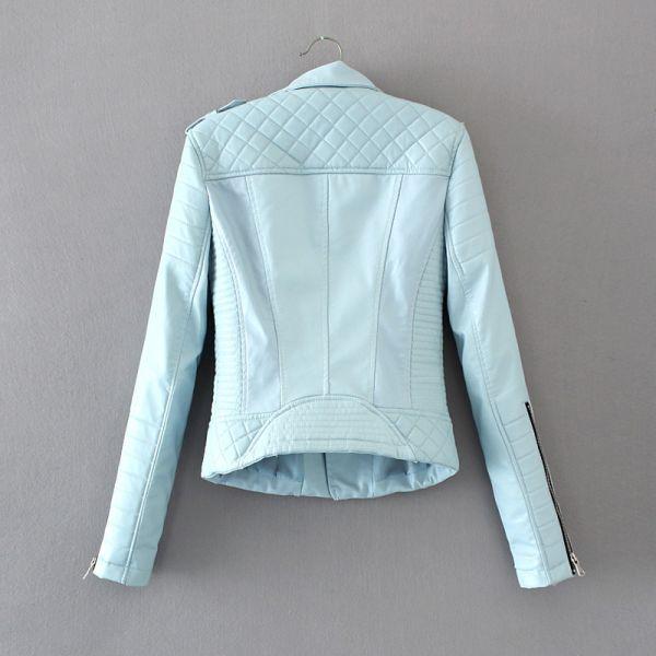Women Fashion Soft Faux Leather Jackets -Motorcyle Zippers Biker Blue Coat Image 3