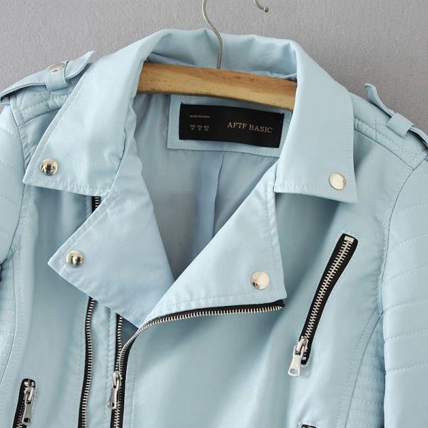 Women Fashion Soft Faux Leather Jackets -Motorcyle Zippers Biker Blue Coat Image 4