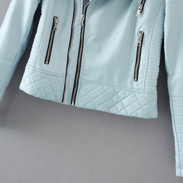 Women Fashion Soft Faux Leather Jackets -Motorcyle Zippers Biker Blue Coat Image 5