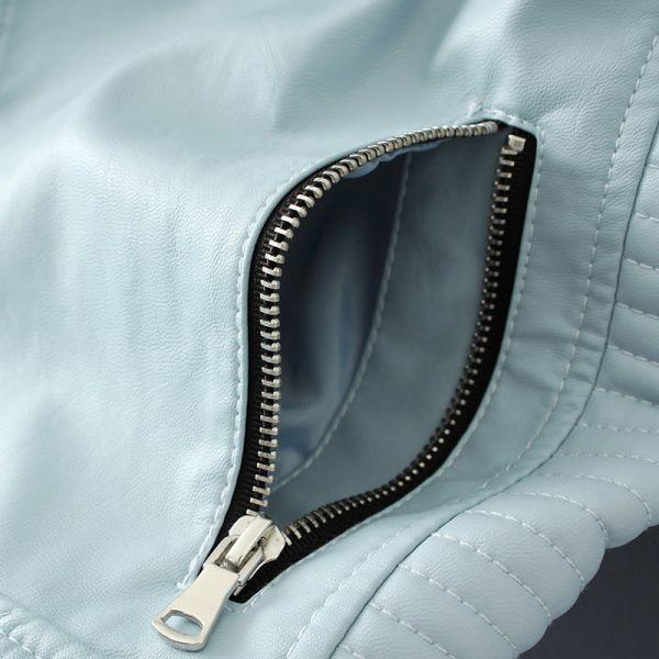Women Fashion Soft Faux Leather Jackets -Motorcyle Zippers Biker Blue Coat Image 6