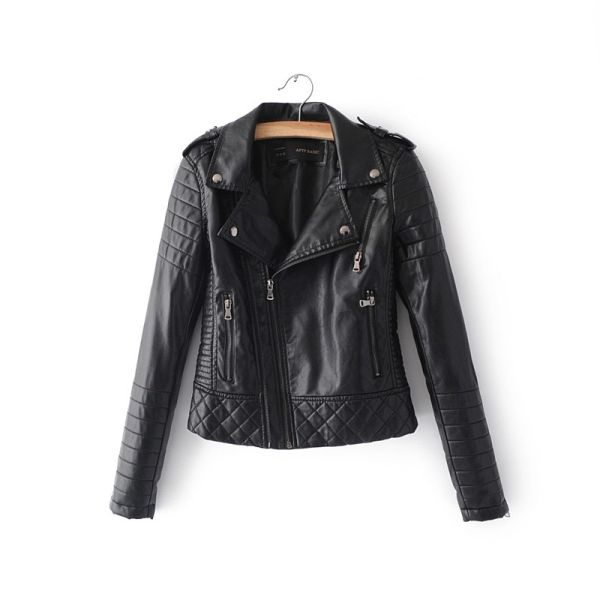 Women Fashion Soft Faux Leather Jackets -Motorcyle Zippers Biker Blue Coat Image 7