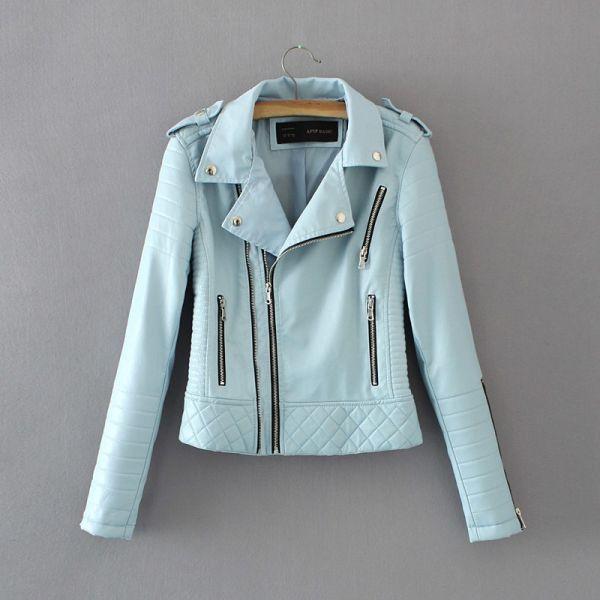 Women Fashion Soft Faux Leather Jackets -Motorcyle Zippers Biker Blue Coat Image 8
