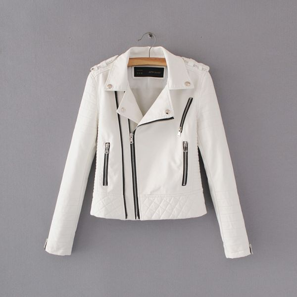 Women Fashion Soft Faux Leather Jackets -Motorcyle Zippers Biker Blue Coat Image 9