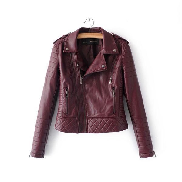 Women Fashion Soft Faux Leather Jackets -Motorcyle Zippers Biker Blue Coat Image 10