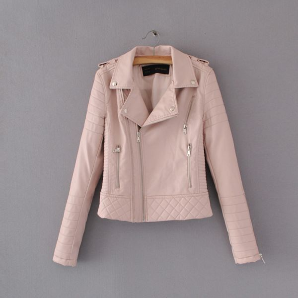 Women Fashion Soft Faux Leather Jackets -Motorcyle Zippers Biker Blue Coat Image 11