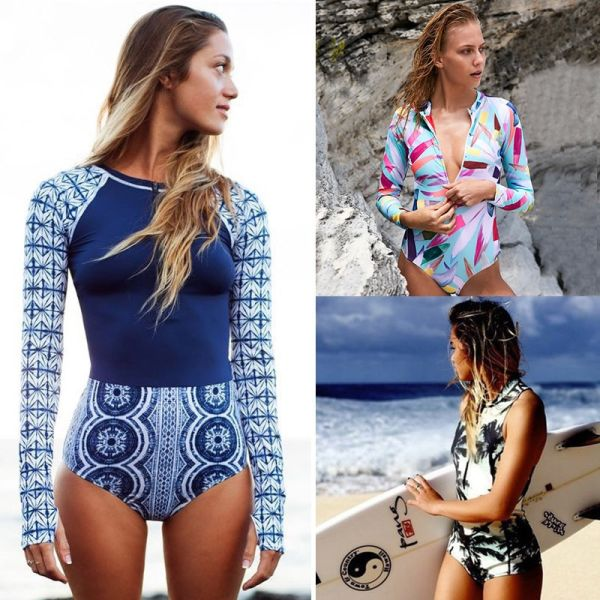 2018 Print Floral One Piece Swimsuit Long Sleeve Swimwear Women Bathing Suit Retro Swimsuit Vintage One-piece Surfing Swim Suits Image 2