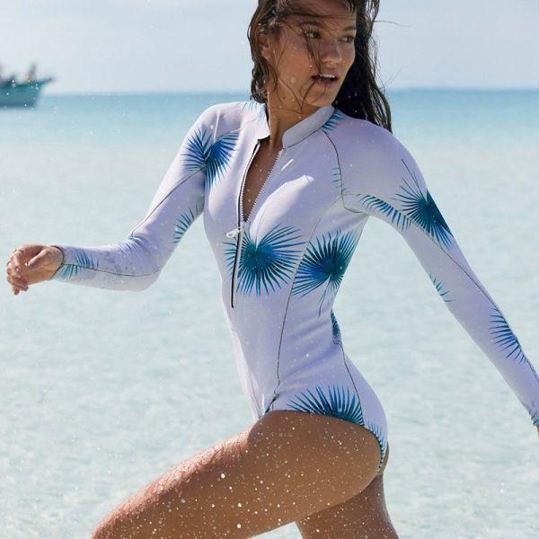 2018 Print Floral One Piece Swimsuit Long Sleeve Swimwear Women Bathing Suit Retro Swimsuit Vintage One-piece Surfing Swim Suits Image 15