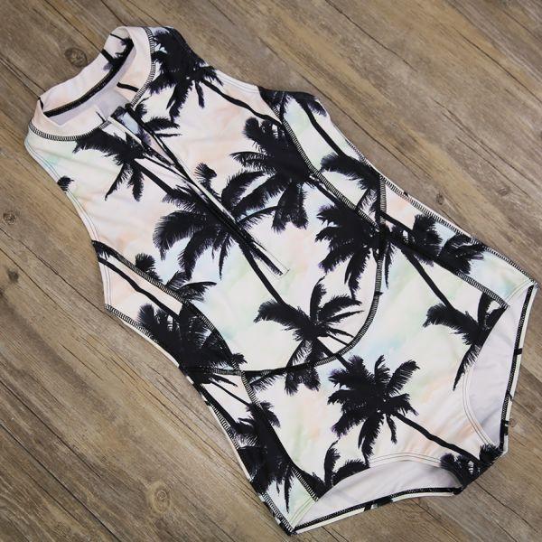 2018 Print Floral One Piece Swimsuit Long Sleeve Swimwear Women Bathing Suit Retro Swimsuit Vintage One-piece Surfing Swim Suits Image 5