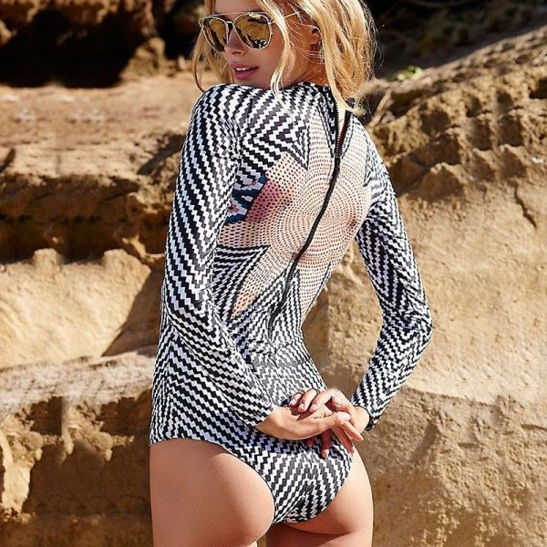 FIGOBELL 2018 One Piece Swimsuit Long Sleeve Swimwear Bathing Suit Women Swimsuit Print Floral One-piece Swim Suits Surfing Wear Image 2