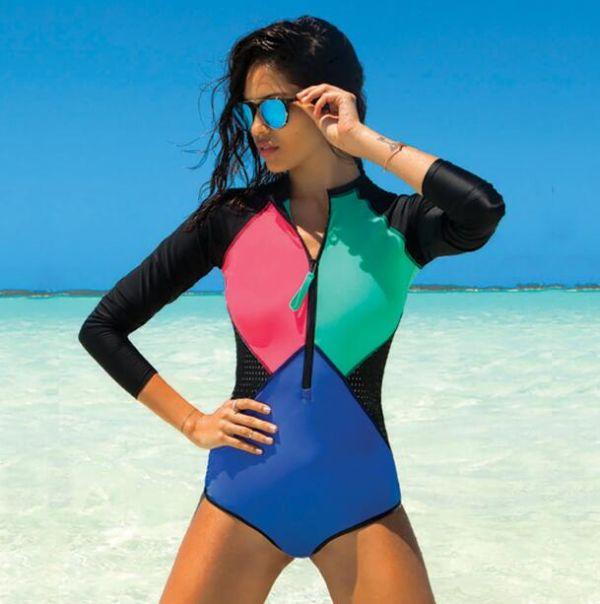FIGOBELL 2018 One Piece Swimsuit Long Sleeve Swimwear Bathing Suit Women Swimsuit Print Floral One-piece Swim Suits Surfing Wear Image 11
