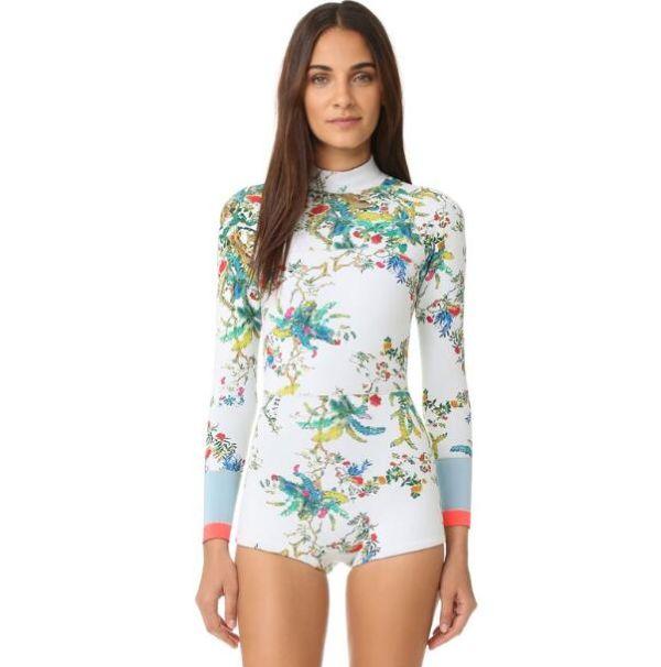 FIGOBELL 2018 One Piece Swimsuit Long Sleeve Swimwear Bathing Suit Women Swimsuit Print Floral One-piece Swim Suits Surfing Wear Image 14
