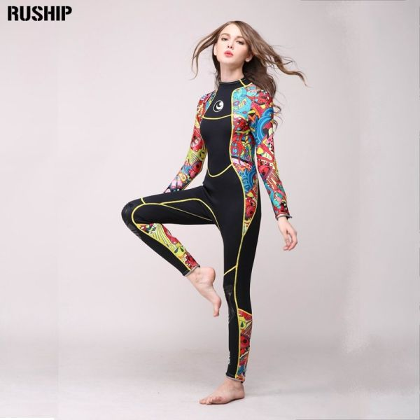 High quality 3 mm women neoprene wetsuit High elasticity color stitching Surf Diving Equipment Jellyfish clothing long sleeved Image 1