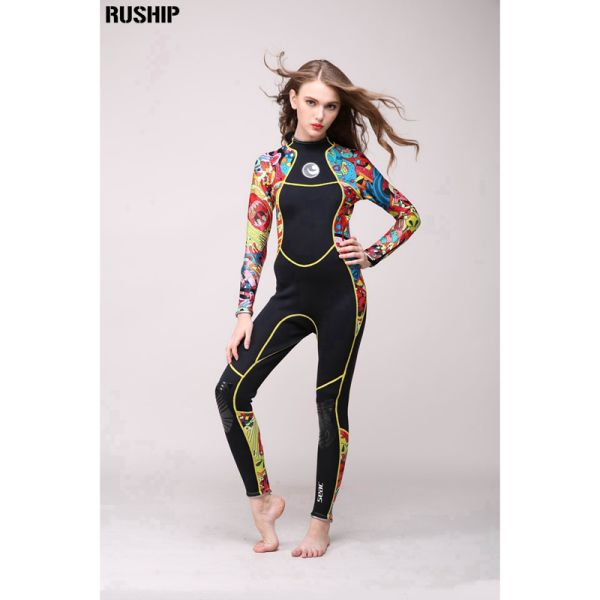 High quality 3 mm women neoprene wetsuit High elasticity color stitching Surf Diving Equipment Jellyfish clothing long sleeved Image 2