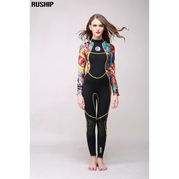 High quality 3 mm women neoprene wetsuit High elasticity color stitching Surf Diving Equipment Jellyfish clothing long sleeved Image 3