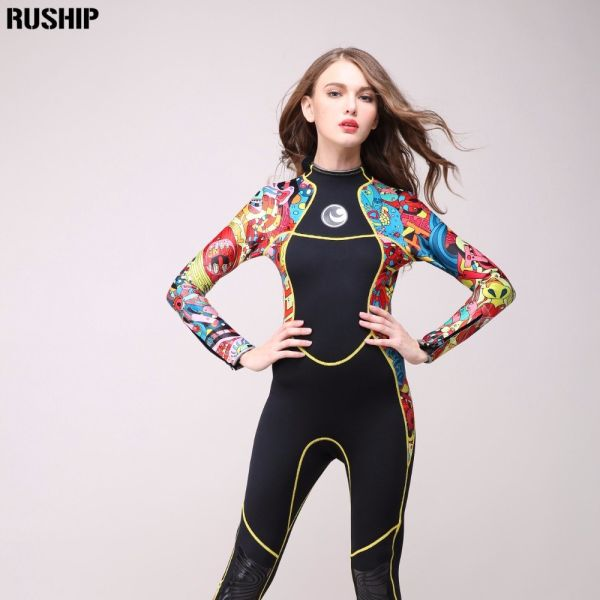 High quality 3 mm women neoprene wetsuit High elasticity color stitching Surf Diving Equipment Jellyfish clothing long sleeved Image 6