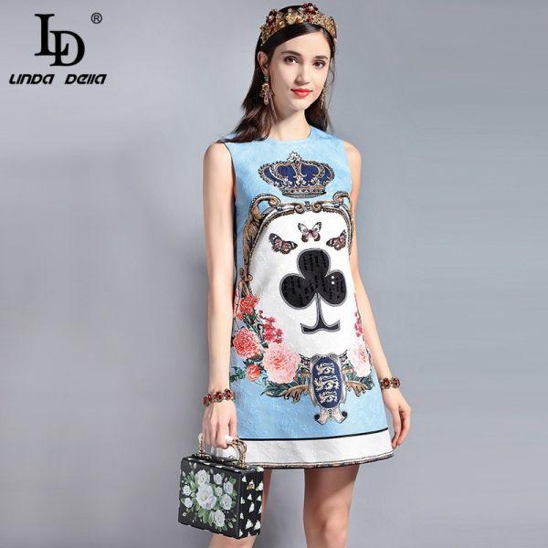 LD LINDA DELLA Fashion Designer Runway Summer Dress Women's Sleeveless Sequin Beading Jacquard Floral Print Vintage Casual Dress Image 1