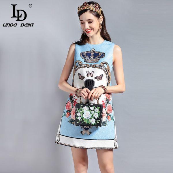 LD LINDA DELLA Fashion Designer Runway Summer Dress Women's Sleeveless Sequin Beading Jacquard Floral Print Vintage Casual Dress Image 2