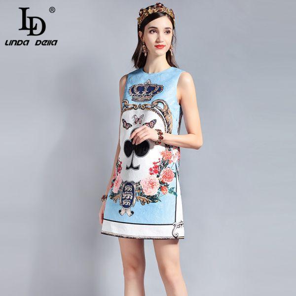 LD LINDA DELLA Fashion Designer Runway Summer Dress Women's Sleeveless Sequin Beading Jacquard Floral Print Vintage Casual Dress Image 3