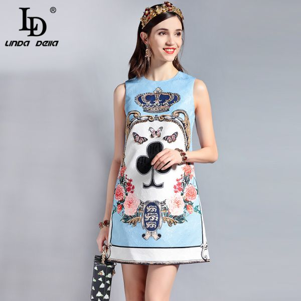LD LINDA DELLA Fashion Designer Runway Summer Dress Women's Sleeveless Sequin Beading Jacquard Floral Print Vintage Casual Dress Image 4