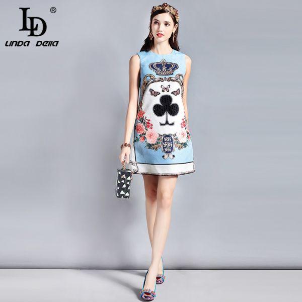 LD LINDA DELLA Fashion Designer Runway Summer Dress Women's Sleeveless Sequin Beading Jacquard Floral Print Vintage Casual Dress Image 5