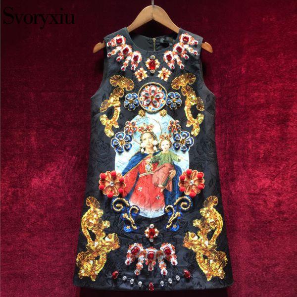Vintage Black Mini Dress Women's Sleeveless Luxurious Diamonds Dress Image 1