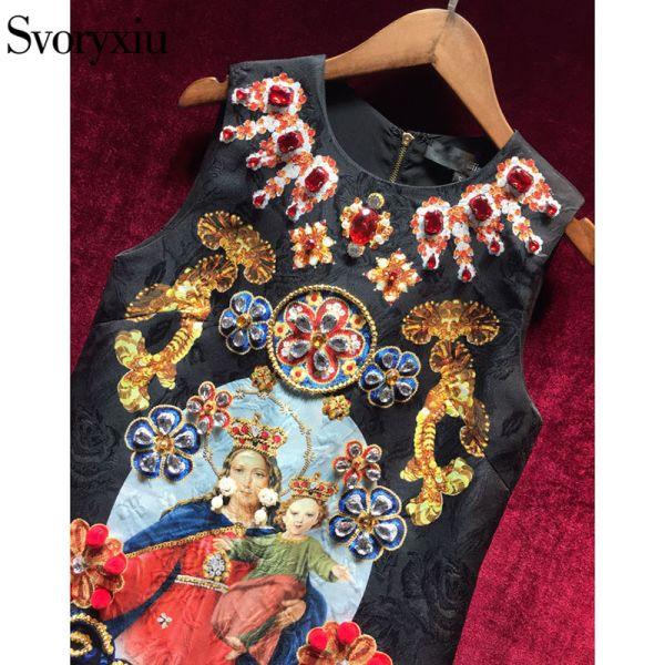 Vintage Black Mini Dress Women's Sleeveless Luxurious Diamonds Dress Image 3