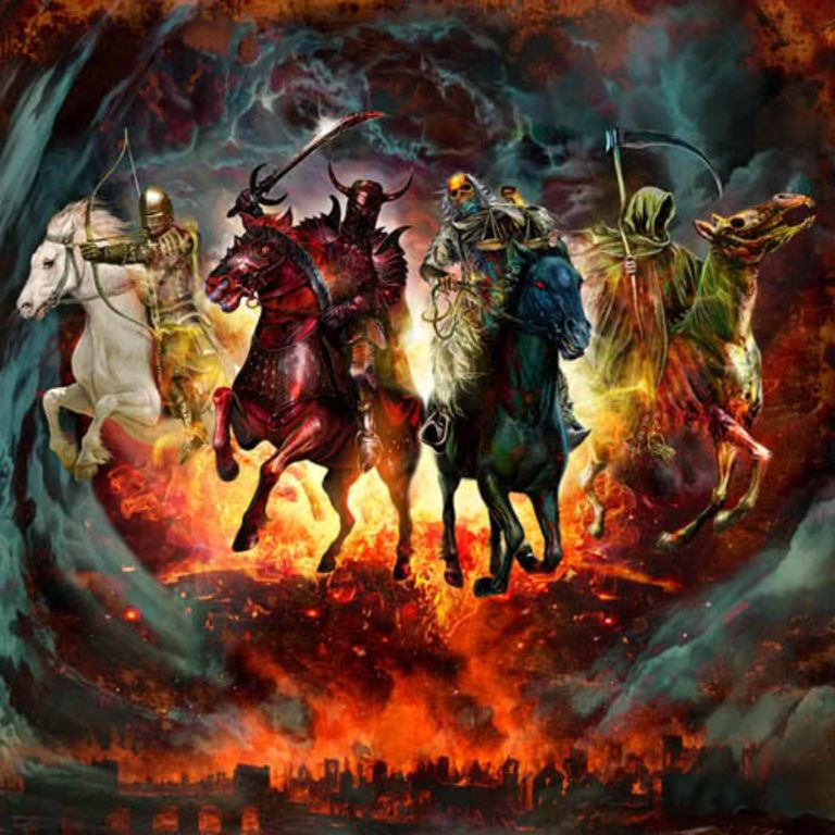 The 4 horsemen of the Apocalypse as described in the bible in the book of revelations.