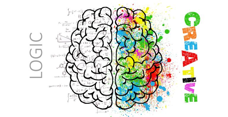 Brain's hemispheres with logic and creativity