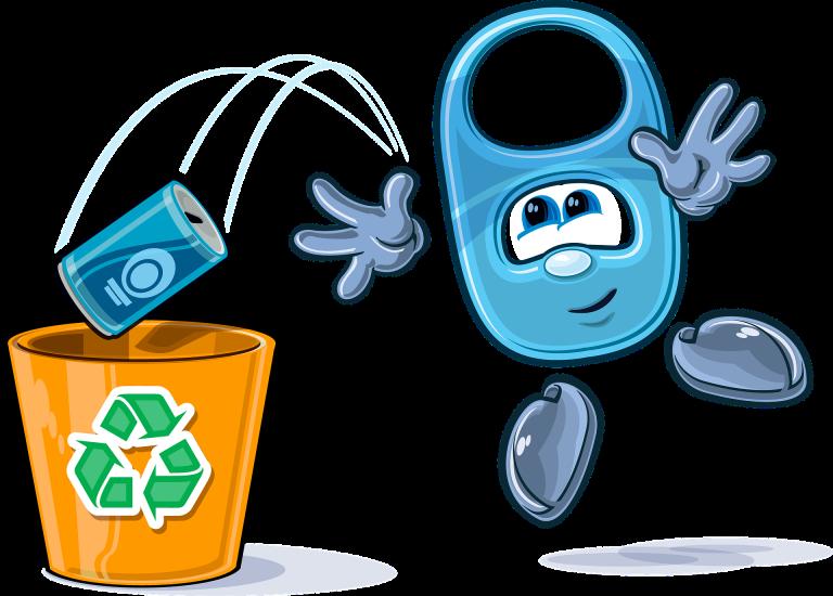 Cartoon: Recycling, wastepaper, bin, garbage, funny