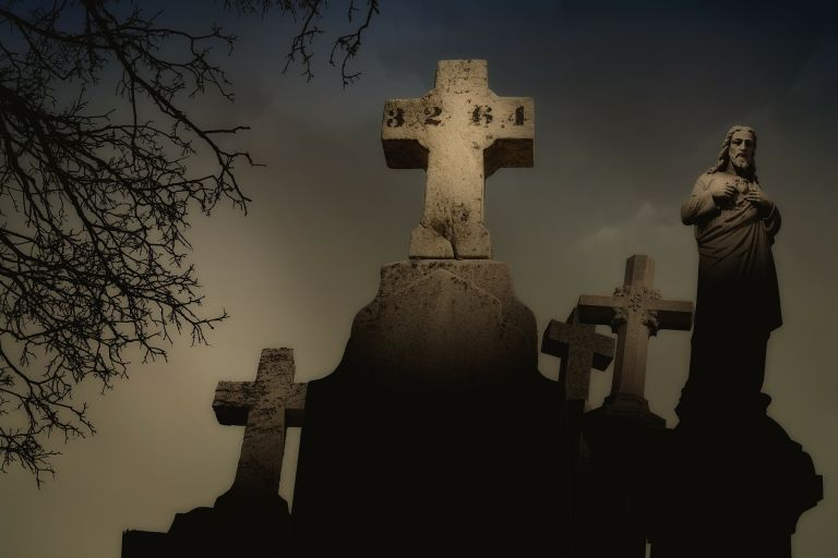 Cemetery with stone crosses