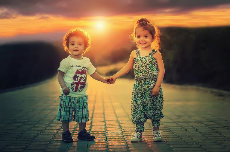 Children/siblings holding hands, love