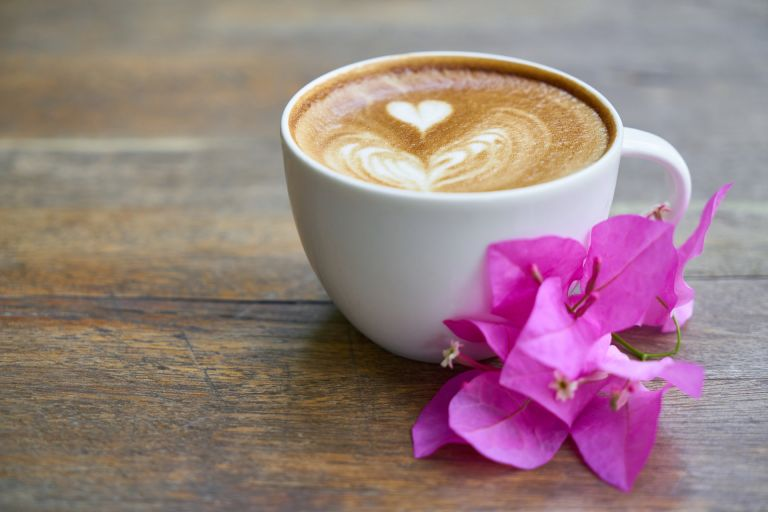 Coffee: heart and pink flower