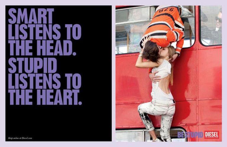 Diesel advertisement: Smart, stupid, dangerous kiss
